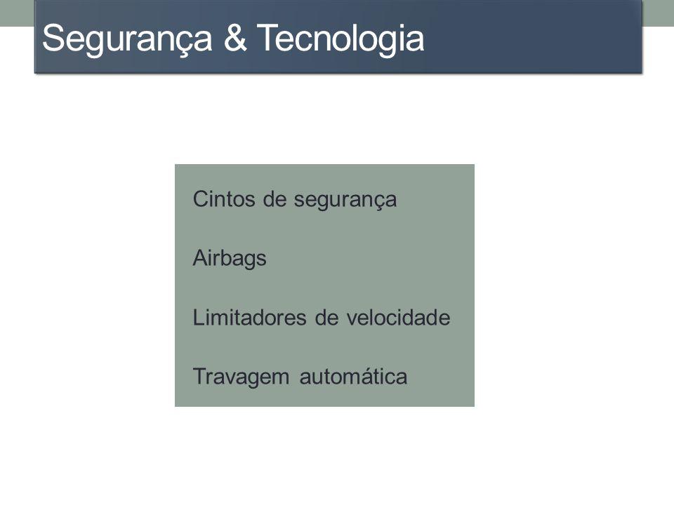 Segurança & Tecnologia Cintos de segurança Airbags Limitadores de velocidade Travagem automática