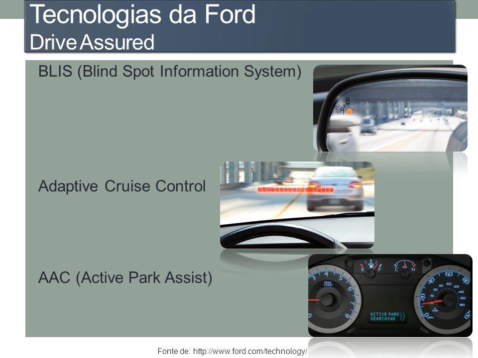 Tecnologias da Ford Drive Assured BLIS (Blind Spot Information System) Adaptive Cruise Control AAC (Active Park Assist) Fonte de: http://www.ford.com/
