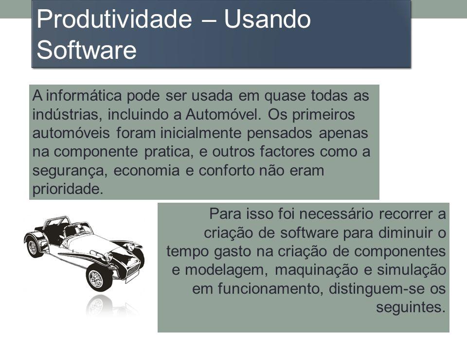 A informática pode ser usada em quase todas as indústrias, incluindo a Automóvel. Os primeiros automóveis foram inicialmente pensados apenas na compon