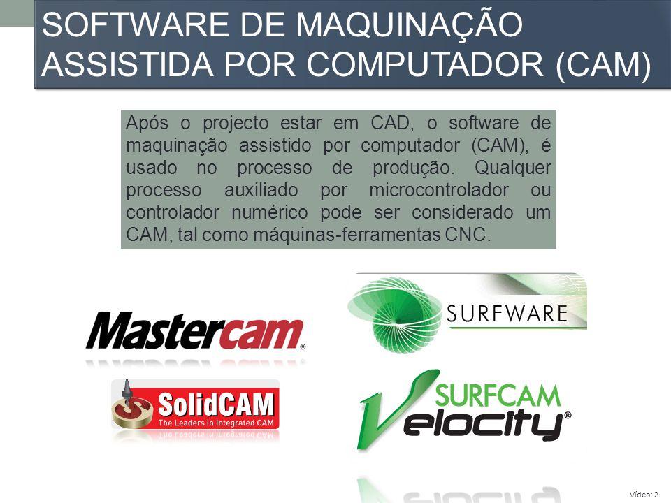 SOFTWARE DE MAQUINAÇÃO ASSISTIDA POR COMPUTADOR (CAM) Após o projecto estar em CAD, o software de maquinação assistido por computador (CAM), é usado n