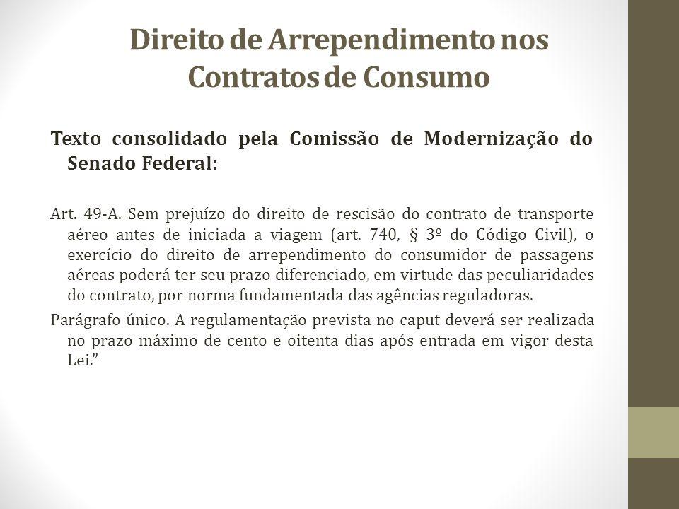 Direito de Arrependimento nos Contratos de Consumo Texto consolidado pela Comissão de Modernização do Senado Federal: Art. 49-A. Sem prejuízo do direi