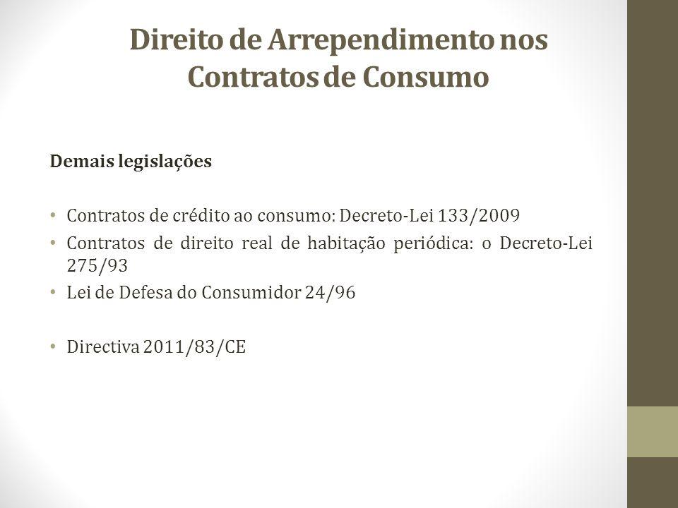 Direito de Arrependimento nos Contratos de Consumo Demais legislações Contratos de crédito ao consumo: Decreto-Lei 133/2009 Contratos de direito real