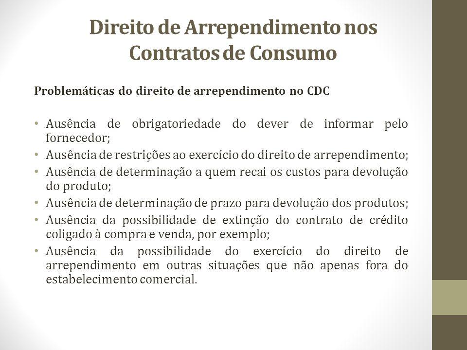 Direito de Arrependimento nos Contratos de Consumo Problemáticas do direito de arrependimento no CDC Ausência de obrigatoriedade do dever de informar