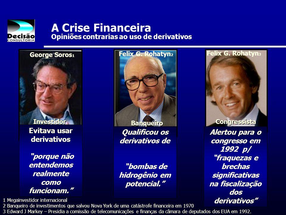 A Crise Financeira Opiniões contrarias ao uso de derivativos Evitava usar derivativos porque não entendemos realmente como funcionam. George Soros 1 Q