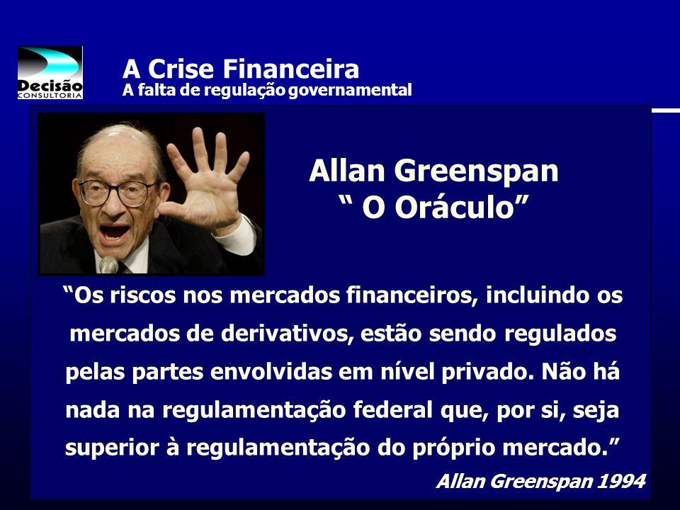 A Crise Financeira A falta de regulação governamental Os riscos nos mercados financeiros, incluindo os mercados de derivativos, estão sendo regulados