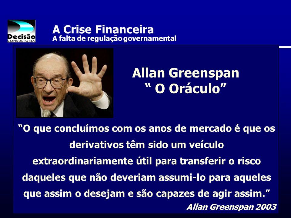 A Crise Financeira A falta de regulação governamental O que concluímos com os anos de mercado é que os derivativos têm sido um veículo extraordinariam