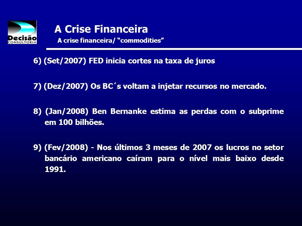A Crise Financeira A crise financeira/ commodities 6) (Set/2007) FED inicia cortes na taxa de juros 7) (Dez/2007) Os BC´s voltam a injetar recursos no