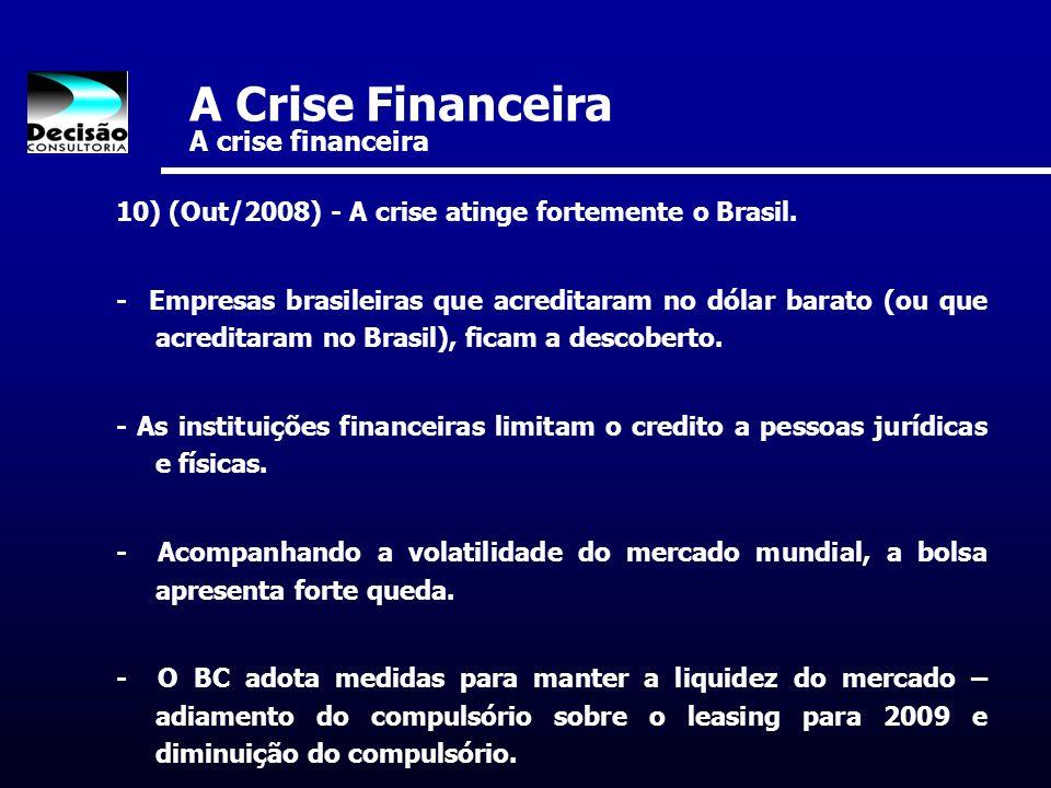 A Crise Financeira A crise financeira 10) (Out/2008) - A crise atinge fortemente o Brasil. - Empresas brasileiras que acreditaram no dólar barato (ou