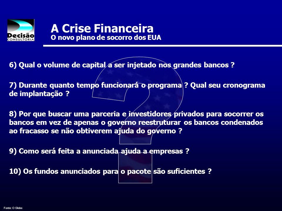 A Crise Financeira O novo plano de socorro dos EUA Fonte: O Globo 6) Qual o volume de capital a ser injetado nos grandes bancos ? 7) Durante quanto te