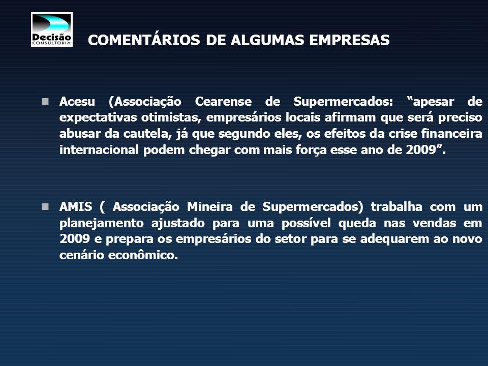 Acesu (Associação Cearense de Supermercados: apesar de expectativas otimistas, empresários locais afirmam que será preciso abusar da cautela, já que s