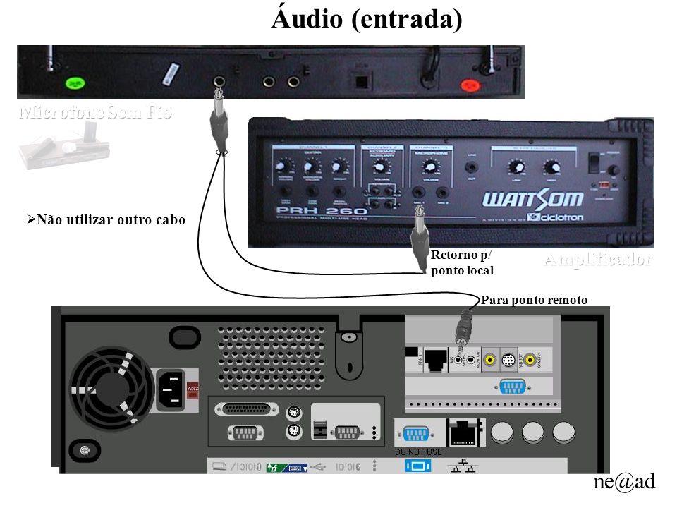 ne@ad Áudio (entrada) Para ponto remoto Retorno p/ ponto local Não utilizar outro cabo