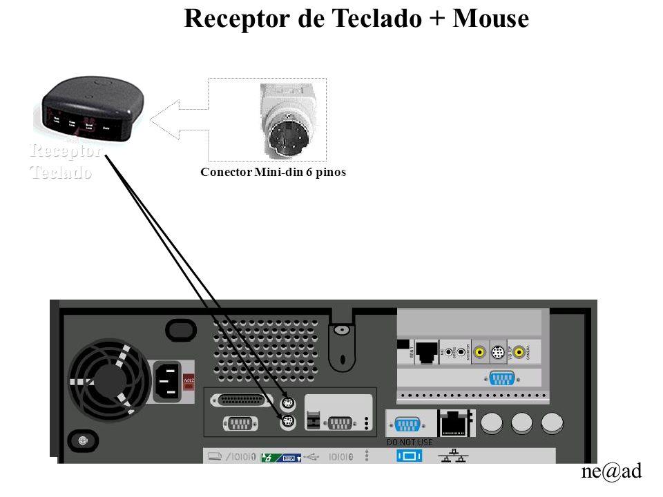 ne@ad Receptor de Teclado + Mouse Conector Mini-din 6 pinos