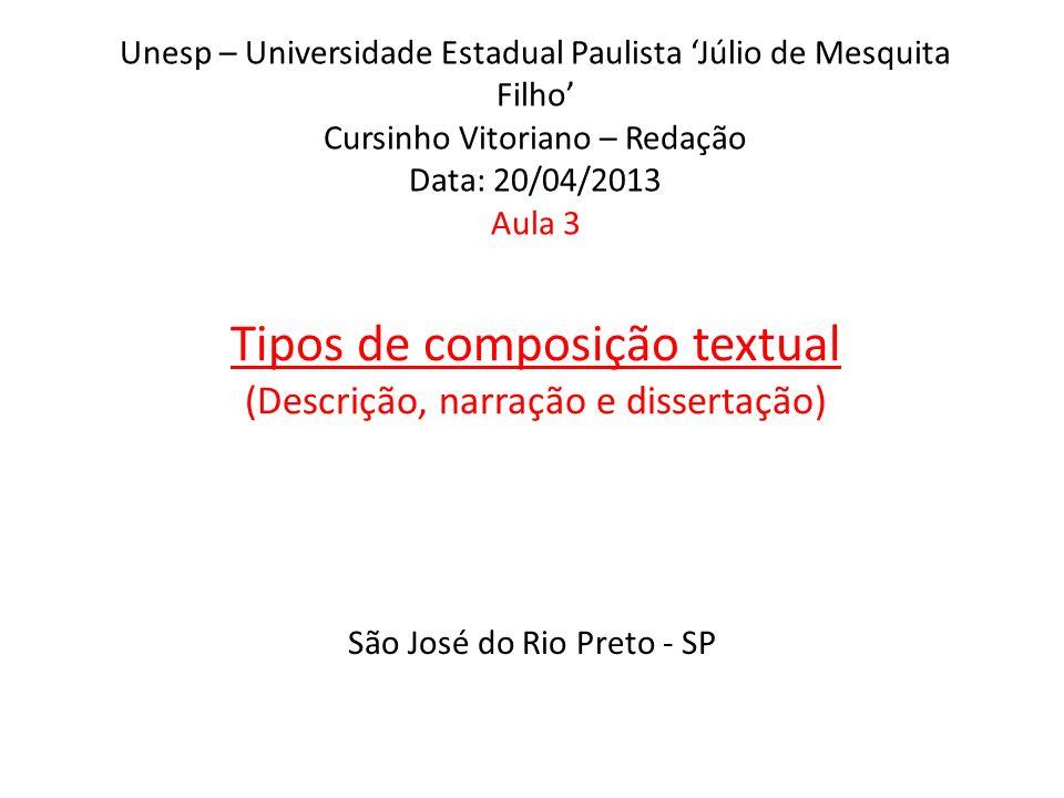 Unesp – Universidade Estadual Paulista Júlio de Mesquita Filho Cursinho Vitoriano – Redação Data: 20/04/2013 Aula 3 Tipos de composição textual (Descrição, narração e dissertação) São José do Rio Preto - SP