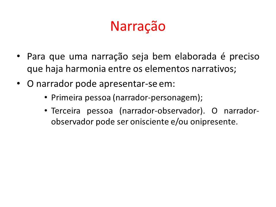 Para que uma narração seja bem elaborada é preciso que haja harmonia entre os elementos narrativos; O narrador pode apresentar-se em: Primeira pessoa (narrador-personagem); Terceira pessoa (narrador-observador).