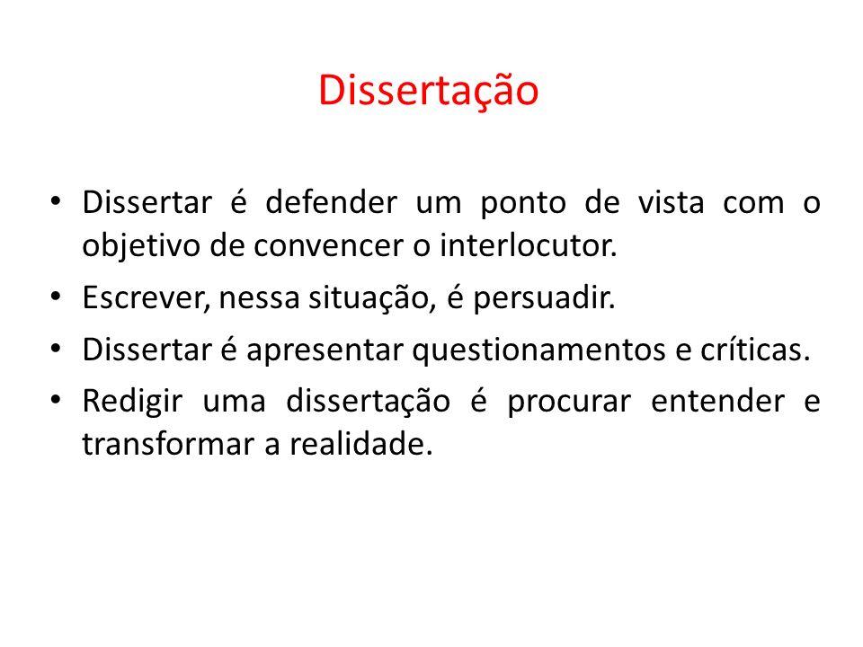 Dissertação Dissertar é defender um ponto de vista com o objetivo de convencer o interlocutor.