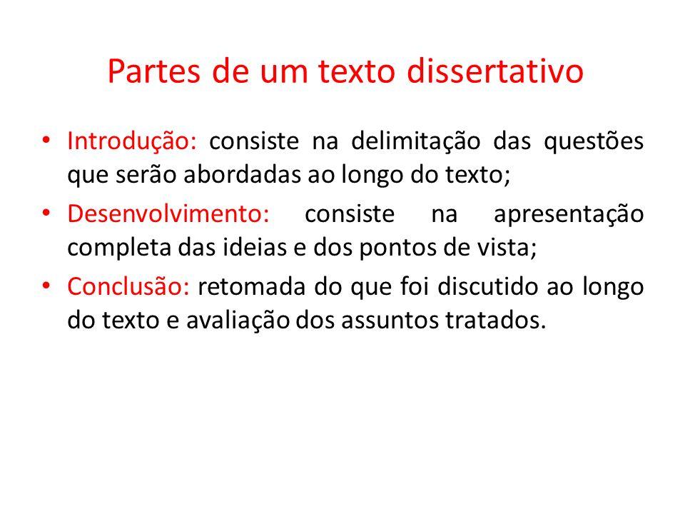 Partes de um texto dissertativo Introdução: consiste na delimitação das questões que serão abordadas ao longo do texto; Desenvolvimento: consiste na a