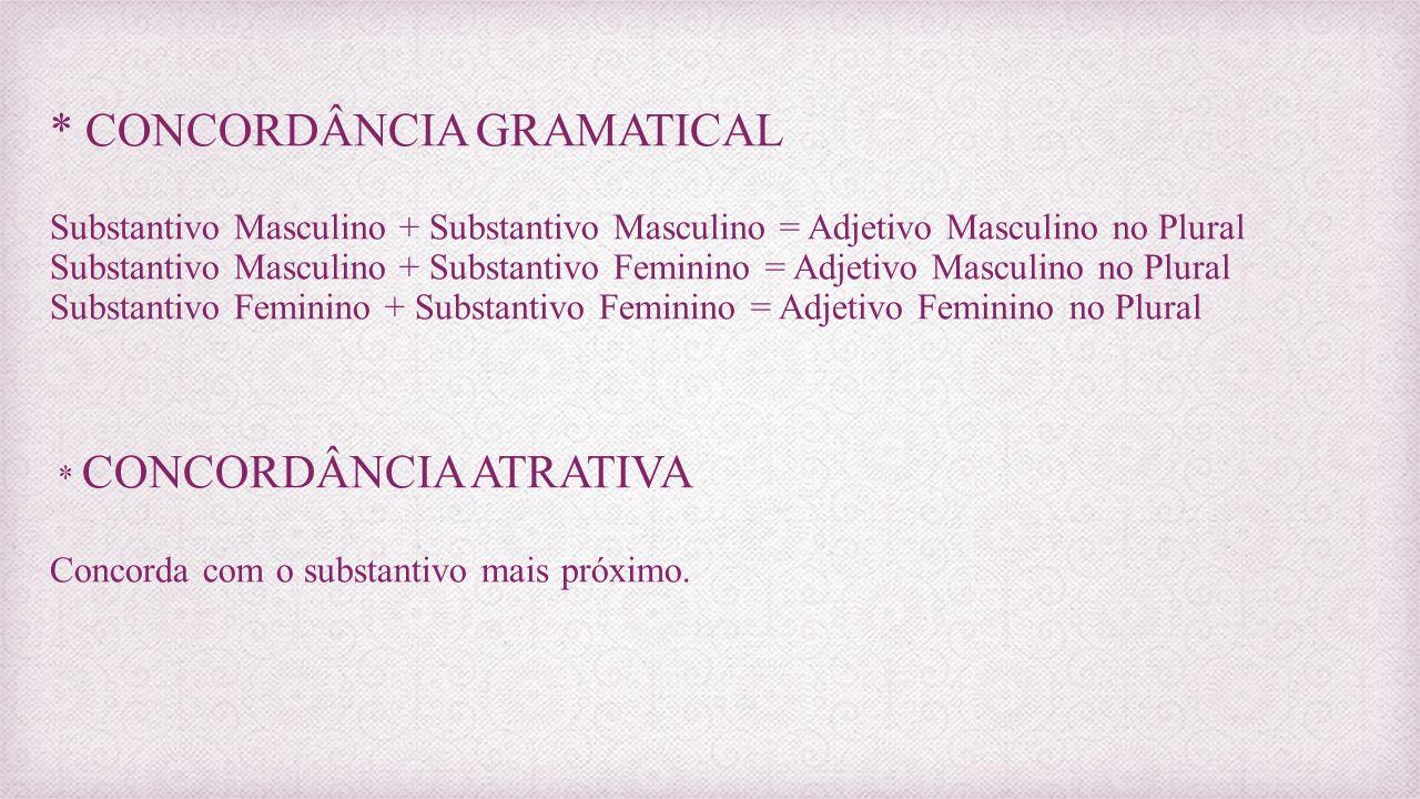 * CONCORDÂNCIA GRAMATICAL Substantivo Masculino + Substantivo Masculino = Adjetivo Masculino no Plural Substantivo Masculino + Substantivo Feminino =