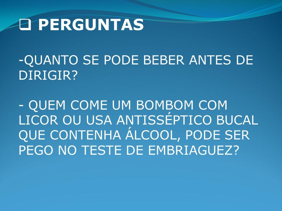 PERGUNTAS -QUANTO SE PODE BEBER ANTES DE DIRIGIR.