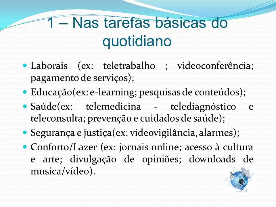1 – Nas tarefas básicas do quotidiano Laborais (ex: teletrabalho ; videoconferência; pagamento de serviços); Educação(ex: e-learning; pesquisas de con