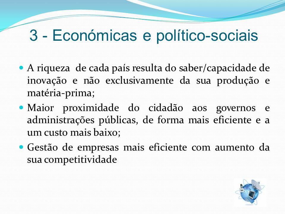3 - Económicas e político-sociais A riqueza de cada país resulta do saber/capacidade de inovação e não exclusivamente da sua produção e matéria-prima;