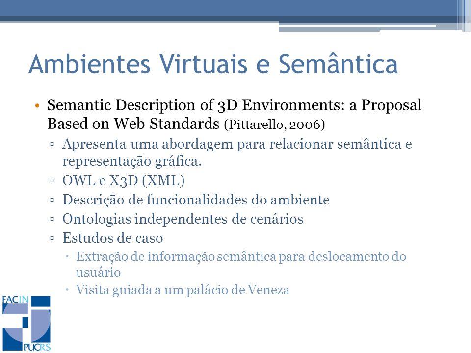 Ambientes Virtuais e Semântica Semantic Description of 3D Environments: a Proposal Based on Web Standards (Pittarello, 2006) Apresenta uma abordagem para relacionar semântica e representação gráfica.