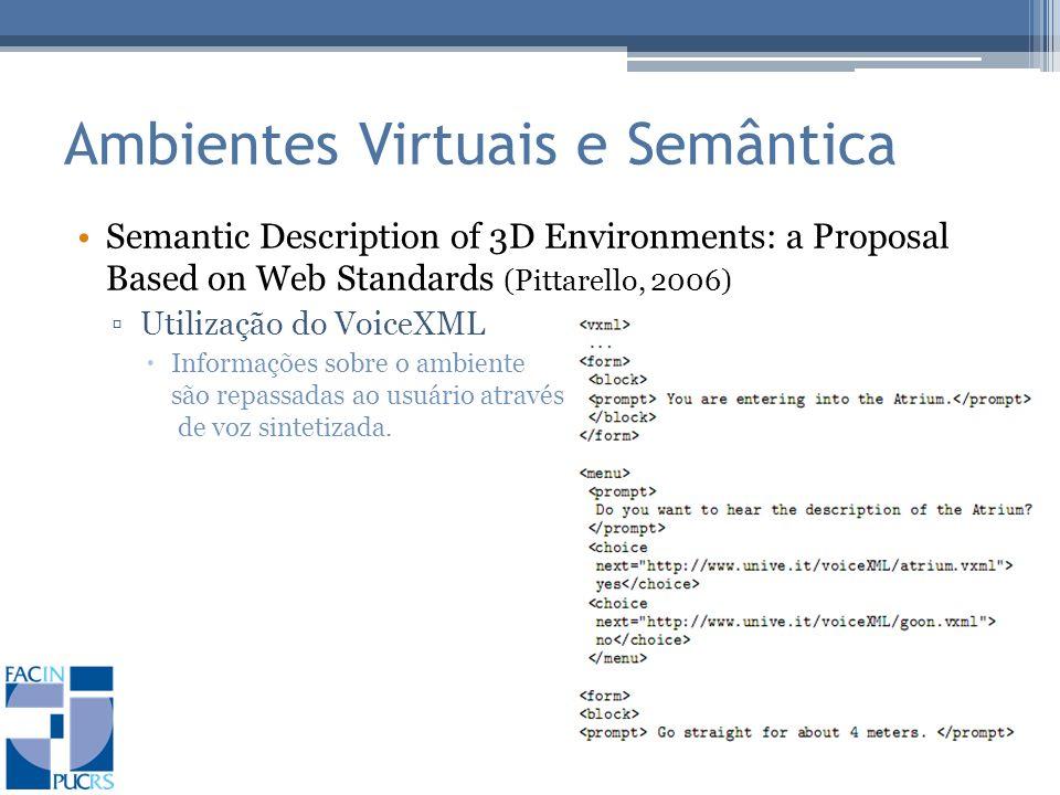 Ambientes Virtuais e Semântica Semantic Description of 3D Environments: a Proposal Based on Web Standards (Pittarello, 2006) Utilização do VoiceXML Informações sobre o ambiente são repassadas ao usuário através de voz sintetizada.