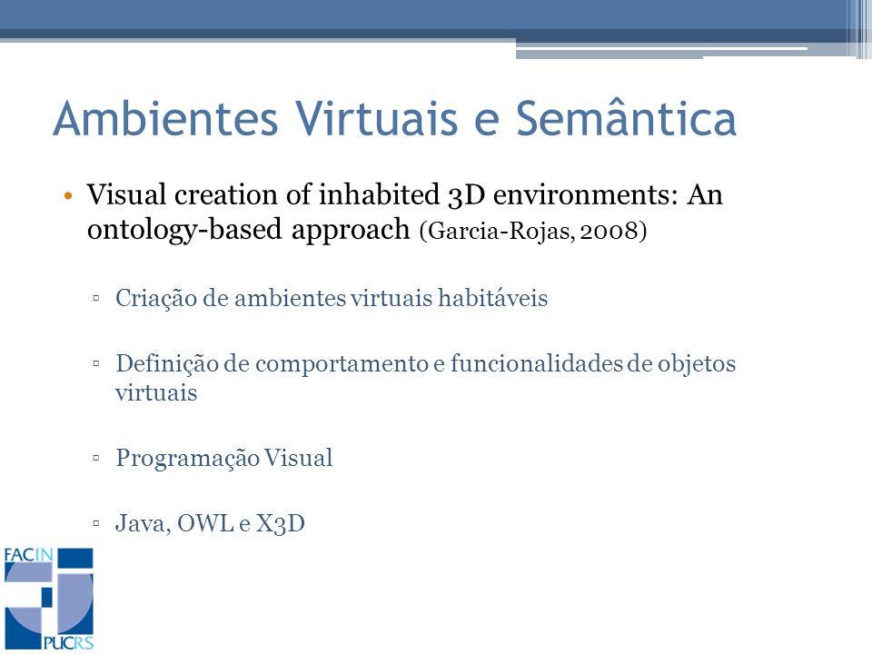 Ambientes Virtuais e Semântica Visual creation of inhabited 3D environments: An ontology-based approach (Garcia-Rojas, 2008) Criação de ambientes virtuais habitáveis Definição de comportamento e funcionalidades de objetos virtuais Programação Visual Java, OWL e X3D