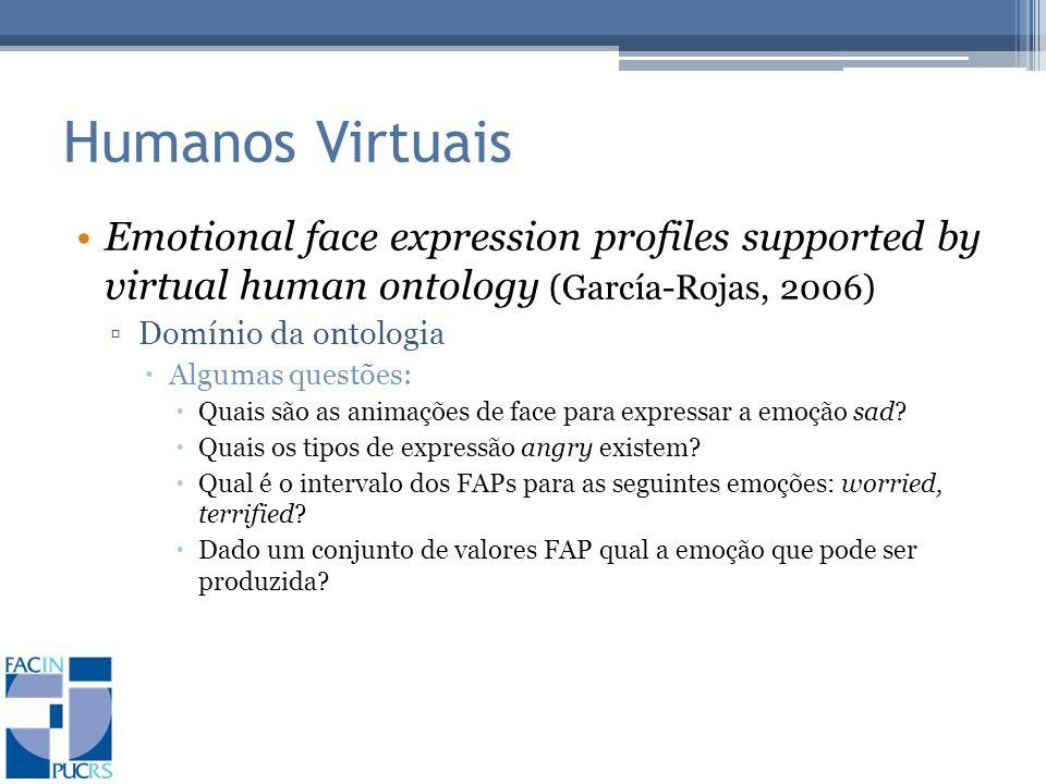 Humanos Virtuais Emotional face expression profiles supported by virtual human ontology (García-Rojas, 2006) Domínio da ontologia Algumas questões: Quais são as animações de face para expressar a emoção sad.