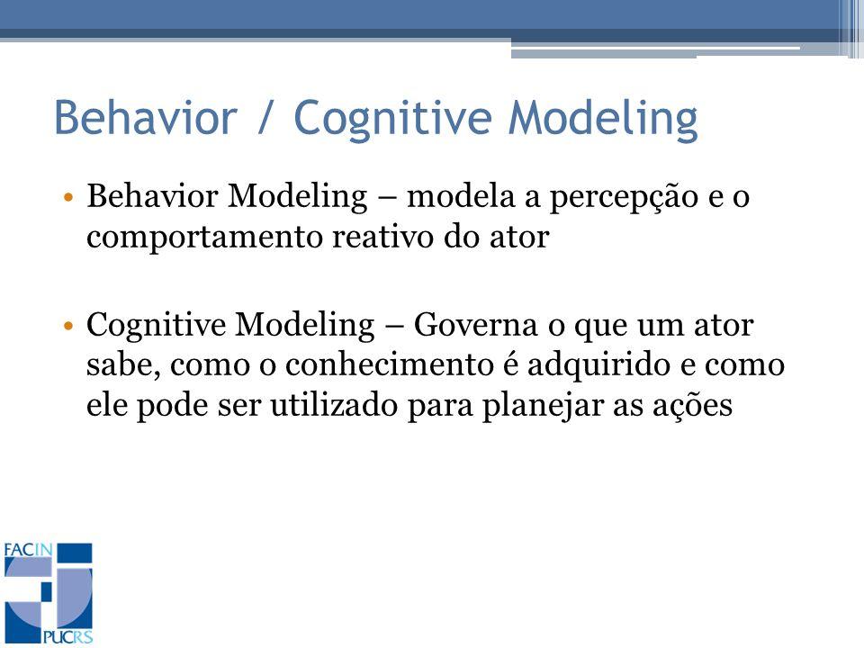 Behavior / Cognitive Modeling Behavior Modeling – modela a percepção e o comportamento reativo do ator Cognitive Modeling – Governa o que um ator sabe, como o conhecimento é adquirido e como ele pode ser utilizado para planejar as ações
