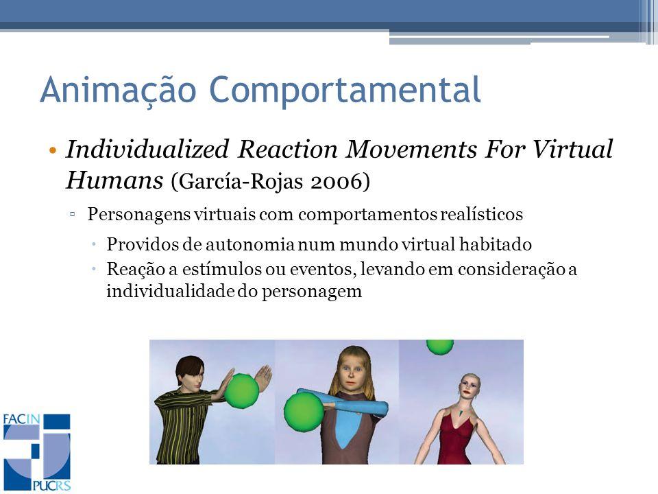 Animação Comportamental Individualized Reaction Movements For Virtual Humans (García-Rojas 2006) Personagens virtuais com comportamentos realísticos Providos de autonomia num mundo virtual habitado Reação a estímulos ou eventos, levando em consideração a individualidade do personagem