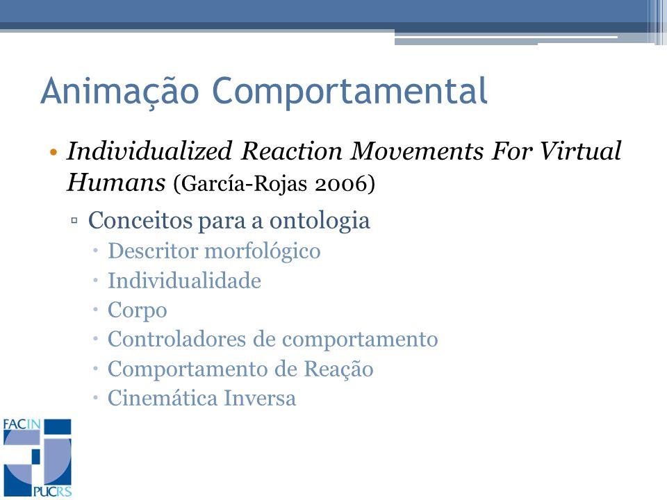 Animação Comportamental Individualized Reaction Movements For Virtual Humans (García-Rojas 2006) Conceitos para a ontologia Descritor morfológico Individualidade Corpo Controladores de comportamento Comportamento de Reação Cinemática Inversa