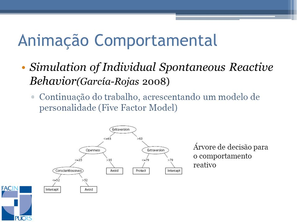 Animação Comportamental Simulation of Individual Spontaneous Reactive Behavior (García-Rojas 2008) Continuação do trabalho, acrescentando um modelo de personalidade (Five Factor Model) Árvore de decisão para o comportamento reativo