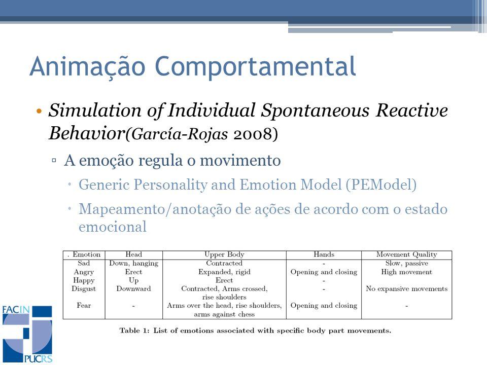 Animação Comportamental Simulation of Individual Spontaneous Reactive Behavior (García-Rojas 2008) A emoção regula o movimento Generic Personality and Emotion Model (PEModel) Mapeamento/anotação de ações de acordo com o estado emocional
