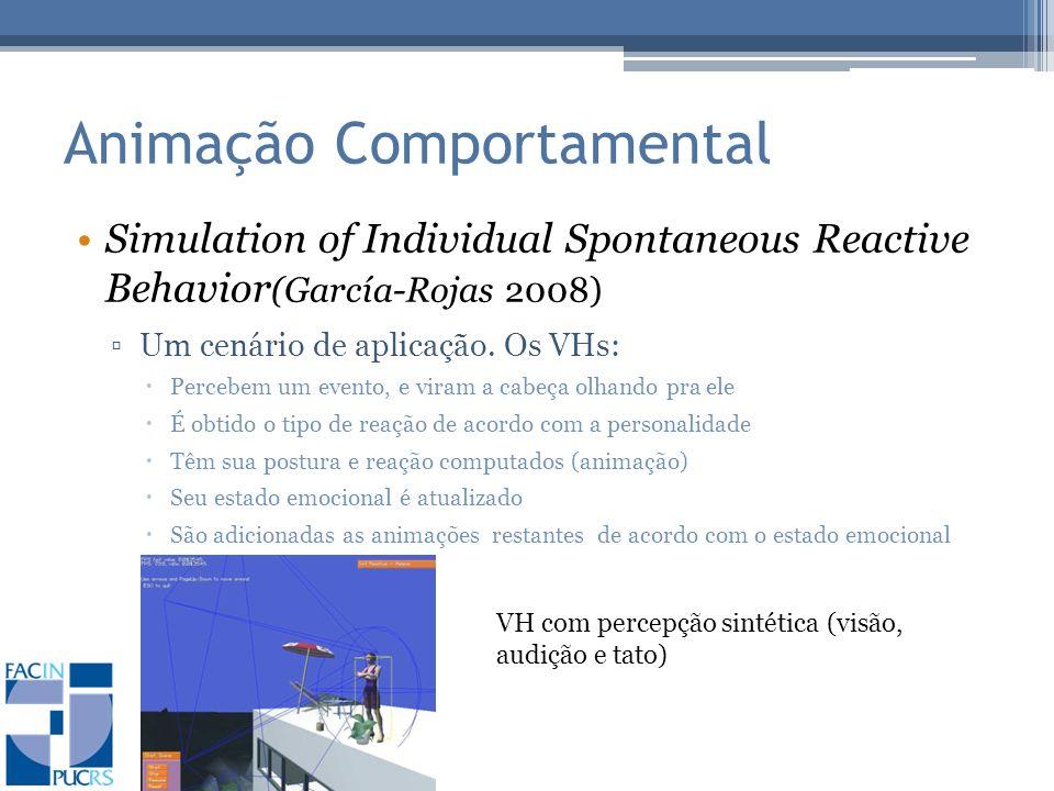 Animação Comportamental Simulation of Individual Spontaneous Reactive Behavior (García-Rojas 2008) Um cenário de aplicação.