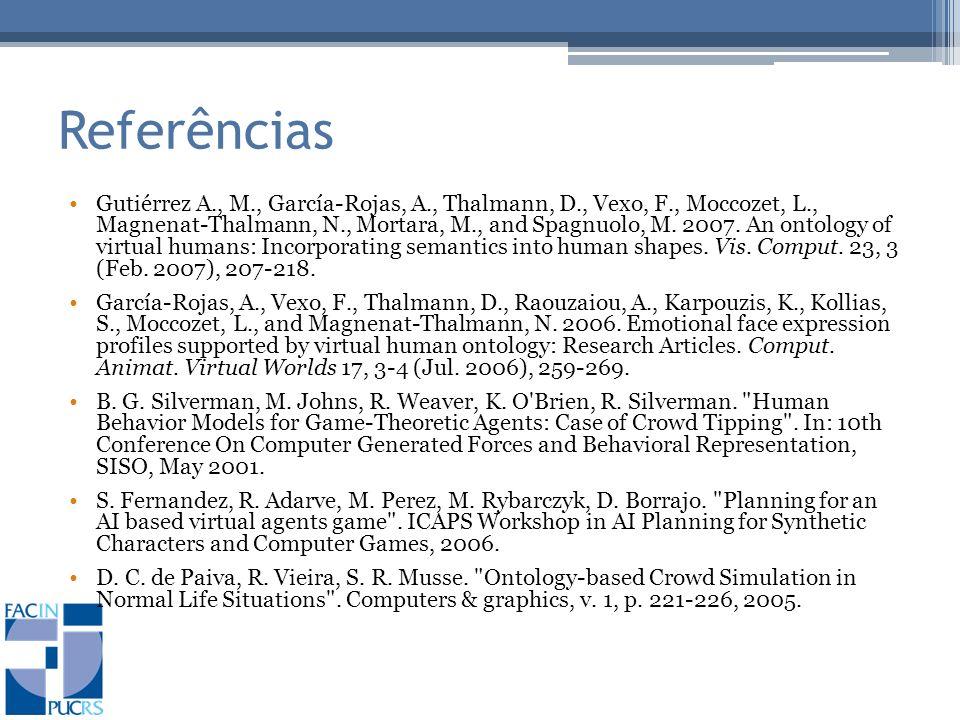 Referências Gutiérrez A., M., García-Rojas, A., Thalmann, D., Vexo, F., Moccozet, L., Magnenat-Thalmann, N., Mortara, M., and Spagnuolo, M.