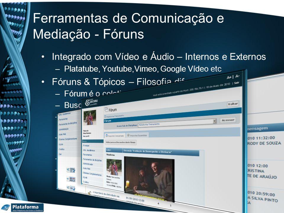 Ferramentas de Comunicação e Mediação - Fóruns Integrado com Vídeo e Áudio – Internos e Externos –Platatube, Youtube,Vimeo, Google Vídeo etc Fóruns &