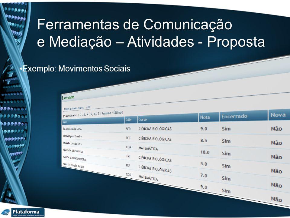 Exemplo: Movimentos Sociais Ferramentas de Comunicação e Mediação – Atividades - Proposta