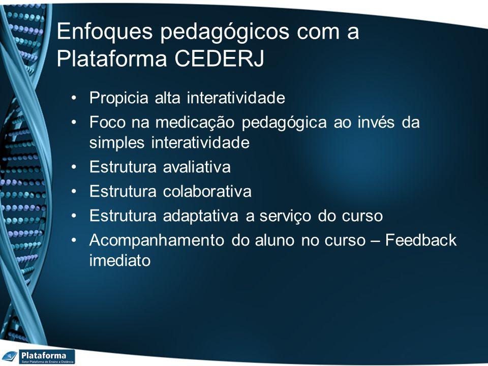 Enfoques pedagógicos com a Plataforma CEDERJ Propicia alta interatividade Foco na medicação pedagógica ao invés da simples interatividade Estrutura av