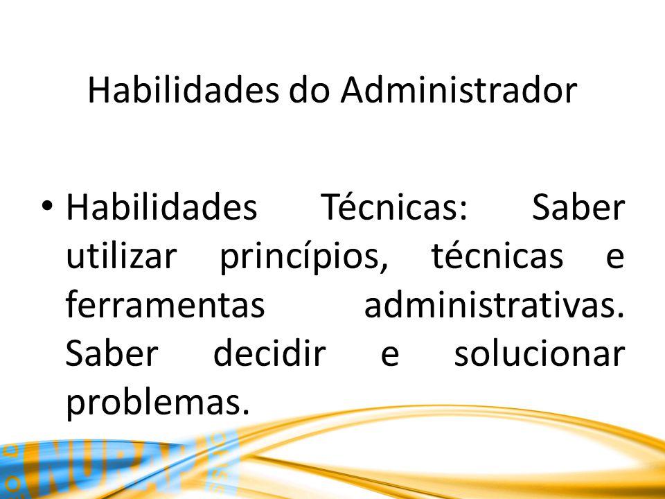 Habilidades do Administrador Habilidades Técnicas: Saber utilizar princípios, técnicas e ferramentas administrativas. Saber decidir e solucionar probl