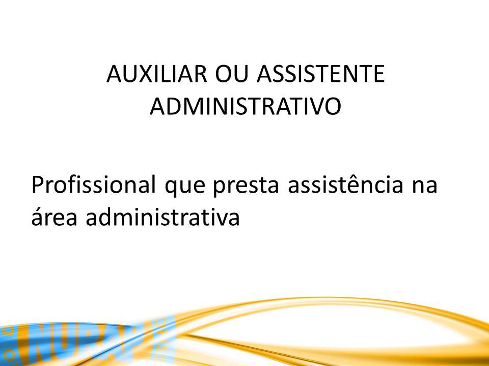 AUXILIAR OU ASSISTENTE ADMINISTRATIVO Profissional que presta assistência na área administrativa