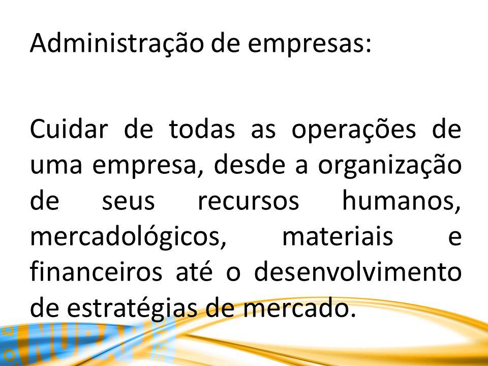 Administração de empresas: Cuidar de todas as operações de uma empresa, desde a organização de seus recursos humanos, mercadológicos, materiais e fina