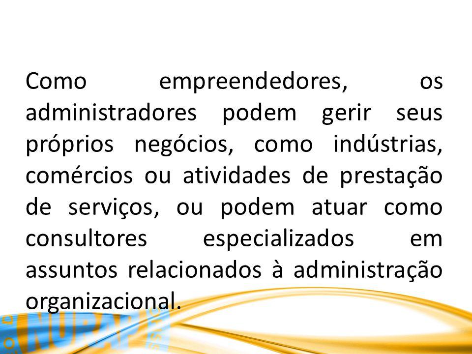 Como empreendedores, os administradores podem gerir seus próprios negócios, como indústrias, comércios ou atividades de prestação de serviços, ou pode