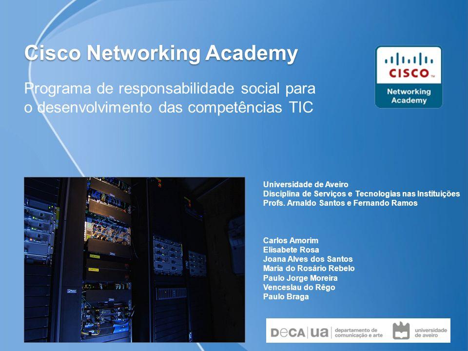 Cisco Networking Academy Programa de responsabilidade social para o desenvolvimento das competências TIC Universidade de Aveiro Disciplina de Serviços