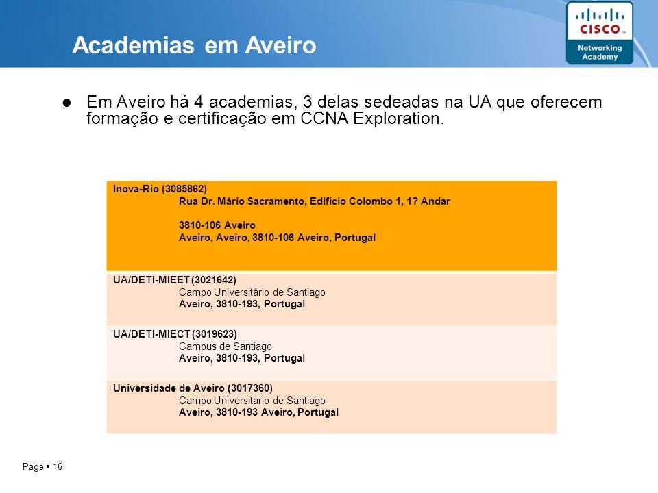 Page 16 Inova-Rio (3085862) Rua Dr. Mário Sacramento, Edifício Colombo 1, 1? Andar 3810-106 Aveiro Aveiro, Aveiro, 3810-106 Aveiro, Portugal UA/DETI-M