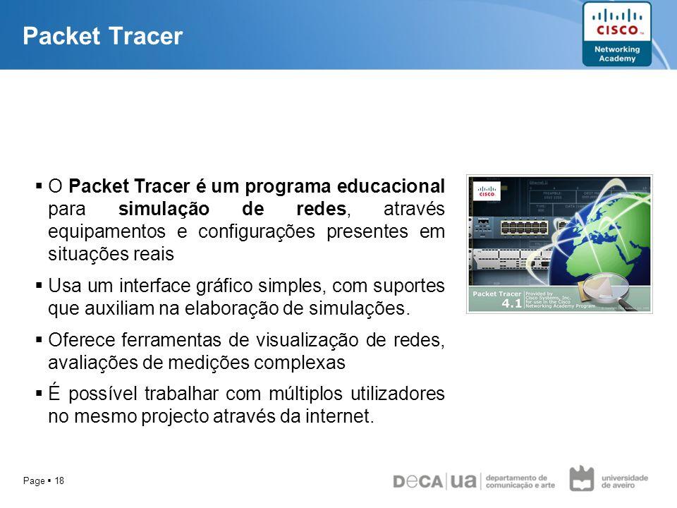 Page 18 Packet Tracer O Packet Tracer é um programa educacional para simulação de redes, através equipamentos e configurações presentes em situações r