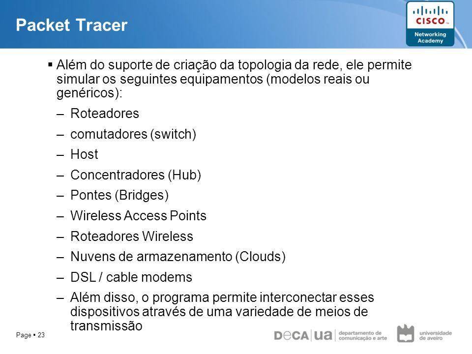 Page 23 Além do suporte de criação da topologia da rede, ele permite simular os seguintes equipamentos (modelos reais ou genéricos): –Roteadores –comu