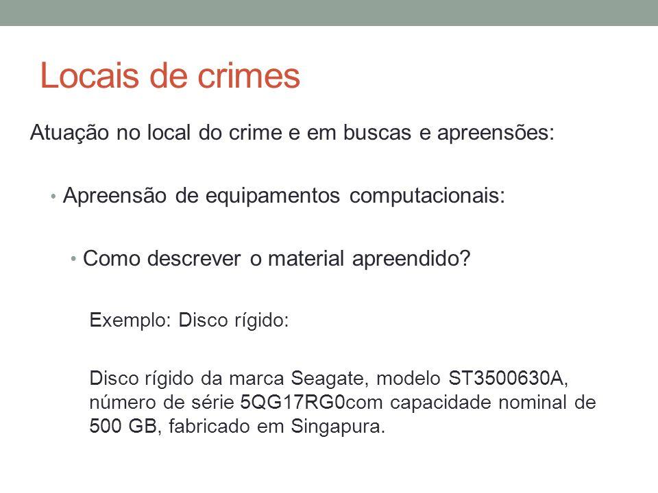 Locais de crimes Atuação no local do crime e em buscas e apreensões: Apreensão de equipamentos computacionais: Como descrever o material apreendido.