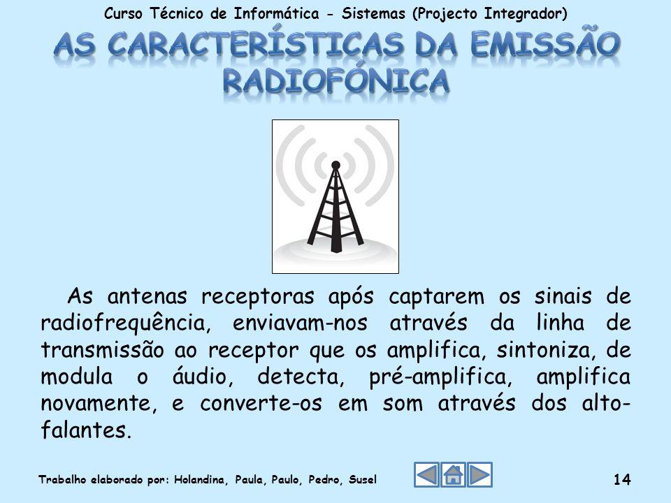 As antenas receptoras após captarem os sinais de radiofrequência, enviavam-nos através da linha de transmissão ao receptor que os amplifica, sintoniza