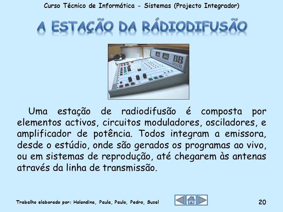 Uma estação de radiodifusão é composta por elementos activos, circuitos moduladores, osciladores, e amplificador de potência. Todos integram a emissor