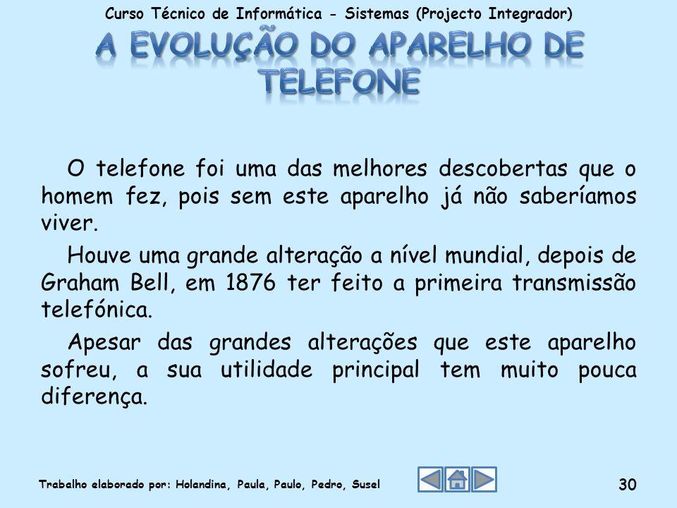 O telefone foi uma das melhores descobertas que o homem fez, pois sem este aparelho já não saberíamos viver. Houve uma grande alteração a nível mundia
